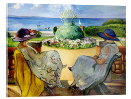Vetro acrilico  Two women on a terrace by the sea - Henri Lebasque