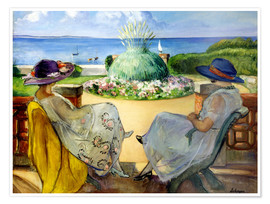 Poster Premium Two women on a terrace by the sea