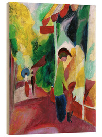 Stampa su legno  Shop window with yellow trees - August Macke