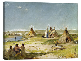 Stampa su tela  Camp of the Indians in Wyoming - Frank Buchser