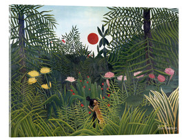 Vetro acrilico  Jungle landscape with Setting Sun - Henri Rousseau