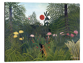 Alluminio Dibond  Jungle landscape with Setting Sun - Henri Rousseau