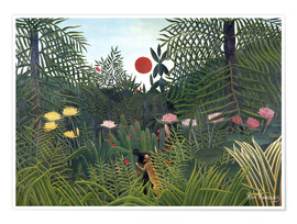 Poster  Jungle landscape with Setting Sun - Henri Rousseau