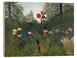 Legno  Jungle landscape with Setting Sun - Henri Rousseau