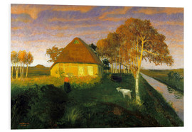 Stampa su schiuma dura  Moor cottage in the evening sun - Otto Modersohn