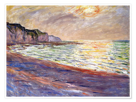 Poster Premium  Beach at Pourville, Sunset - Claude Monet
