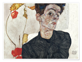 Poster Premium  Self-Portrait with Chinese Lantern Plant - Egon Schiele