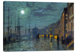 Stampa su tela  Docks at moonlight - John Atkinson Grimshaw