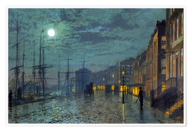 Poster Premium  Docks at moonlight - John Atkinson Grimshaw