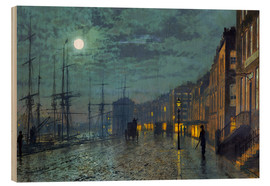 Stampa su legno  Docks at moonlight - John Atkinson Grimshaw