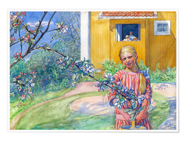 Poster Premium Girl with apple tree branch