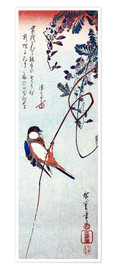 Poster Premium  Swallow sitting on a branch of a wisteria - Utagawa Hiroshige