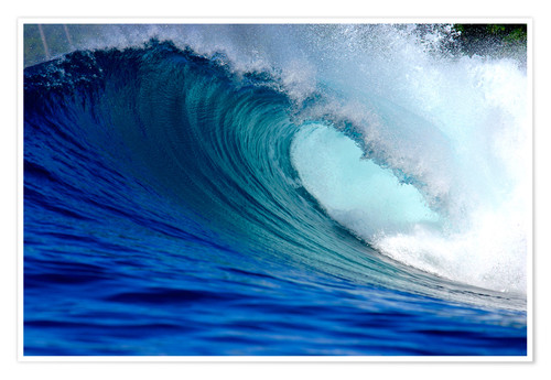 Poster Big blue tropical island surfing wave