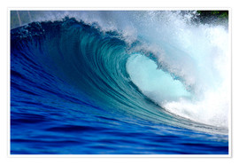 Poster Premium  Big blue tropical island surfing wave - Paul Kennedy