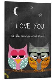 Stampa su vetro acrilico  Owls - I love you to the moon and back - GreenNest