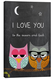 Stampa su tela  Owls - I love you to the moon and back - GreenNest