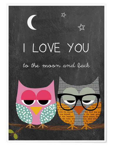Poster Premium Owls -  I love you to the moon and back