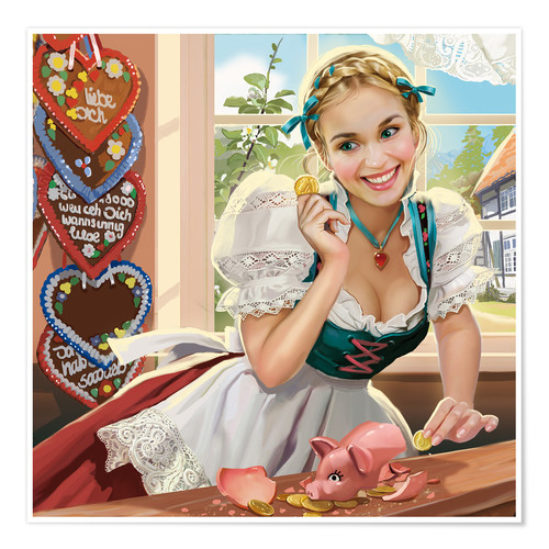 Poster Premium Woman with a coin