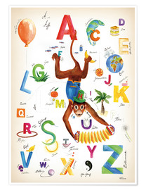 Poster Premium ABC Alphabet animals, colours and more