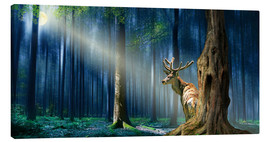 Stampa su tela  The Deer In The Mystical Forest - Monika Jüngling