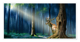 Poster Premium  The Deer In The Mystical Forest - Monika Jüngling