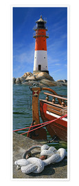 Poster Premium  The Lighthouse In The Harbor - Monika Jüngling