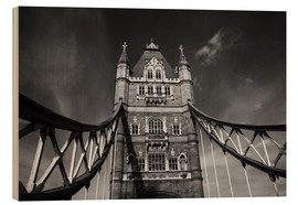 Stampa su legno  London Tower Bridge monochrome - Filtergrafia
