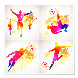 Poster Premium  Soccer and Winner Silhouette - TAlex