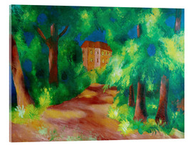 Stampa su vetro acrilico  Red house in a parc - August Macke