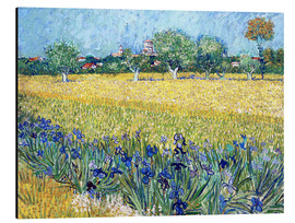 Stampa su alluminio  Arles with Irises flowers in the foreground - Vincent van Gogh