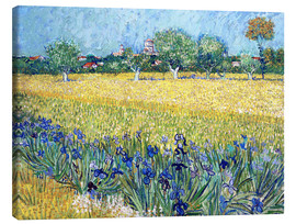 Stampa su tela  Arles with Irises flowers in the foreground - Vincent van Gogh