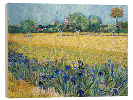 Legno  Arles with Irises flowers in the foreground - Vincent van Gogh