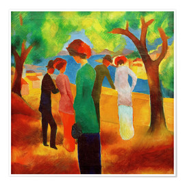 Poster Premium  Lady in a green jacket - August Macke