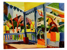 Stampa su vetro acrilico  Terrace of the country house in St. Germain - August Macke