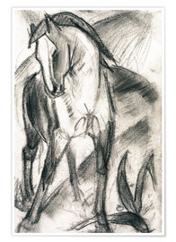 Poster  Young Horse in Mountain Landscape - Franz Marc