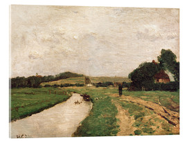 Stampa su vetro acrilico  Hamme meadows and the Weyerberg mountain - Otto Modersohn