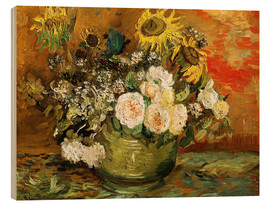 Stampa su legno  Roses and sunflowers - Vincent van Gogh