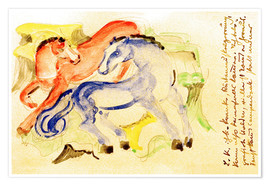 Poster Premium  Red and Blue Horses - Franz Marc
