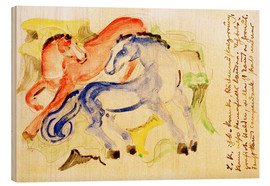 Stampa su legno  Red and Blue Horses - Franz Marc