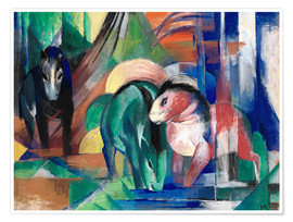 Poster Premium  Three horses at the watering - Franz Marc