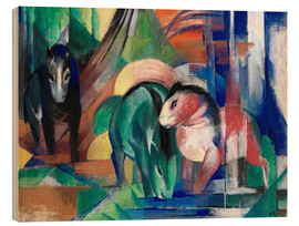 Stampa su legno  Three horses at the watering - Franz Marc