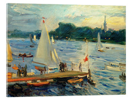 Vetro acrilico  Sailboats on the Alster Lake in the evening - Max Slevogt