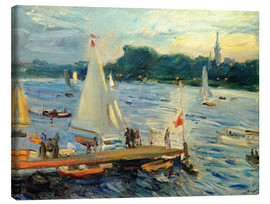 Stampa su tela  Sailboats on the Alster Lake in the evening - Max Slevogt