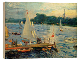 Stampa su legno  Sailboats on the Alster Lake in the evening - Max Slevogt
