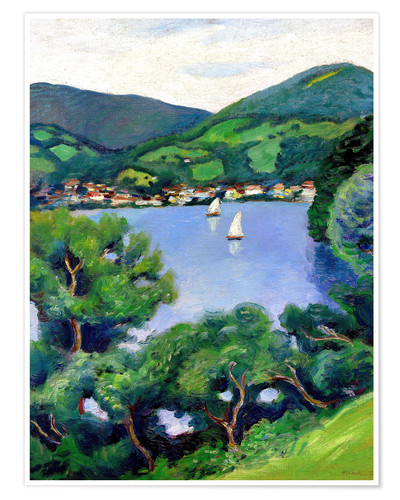 Poster Premium View of Tegernsee lake