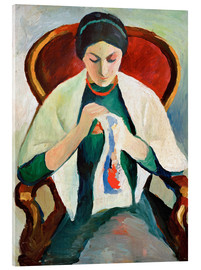Stampa su vetro acrilico  Woman Sewing - August Macke