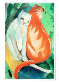 Poster  Cats, red and white - Franz Marc