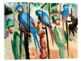 Stampa su vetro acrilico  Among the parrots - August Macke