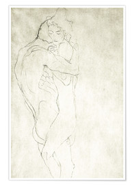 Poster  Lovers, lying to the right - Gustav Klimt