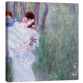 Stampa su tela  Girl with flowers at the edge of a forest - Gustav Klimt